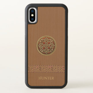 Red Gold Celtic Knot Natural Wood iPhone X Case