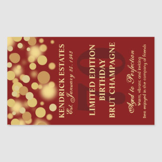 Red Gold Champagne Bubbles Birthday Label 750ml