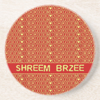 Red Gold Chant Shreem Brzee attract wealth Drink Coasters