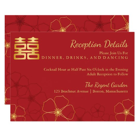 Red & Gold Cherry Blossoms Asian Wedding Details Card
