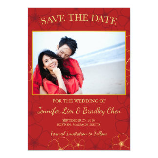 """Red & Gold Cherry Blossoms Save The Date Postcard 5"""" X 7"""" Invitation Card"""