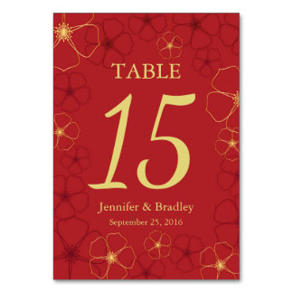 Red & Gold Cherry Blossoms Wedding Table Number Ca