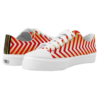 Red & Gold Chevron Style Pattern Low-Top Sneakers