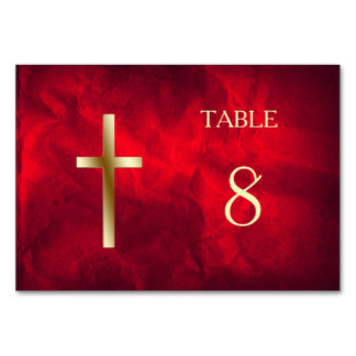Red Gold Christian Cross Table Card
