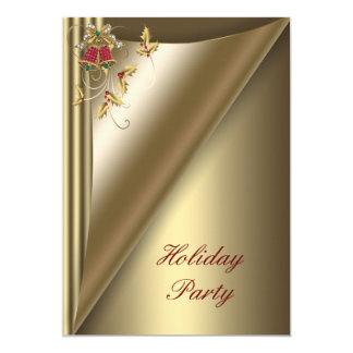 "Red Gold Christmas Holiday Party 5"" X 7"" Invitation Card"