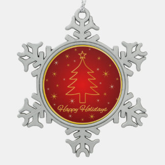 Red Gold Christmas Tree Outline Snowflake Ornament Ornaments