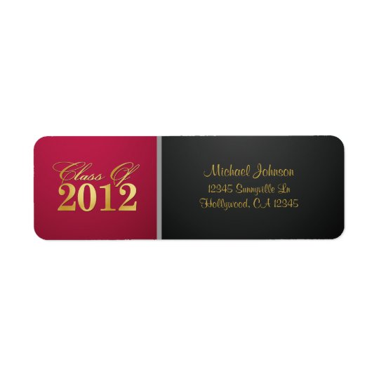 Red / Gold Class of 2012 Return Address Label