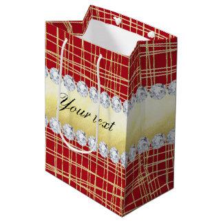 Red Gold Crisscross Lines and Diamonds Medium Gift Bag