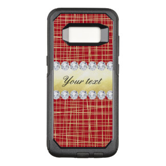 Red Gold Crisscross Lines and Diamonds OtterBox Commuter Samsung Galaxy S8 Case
