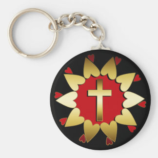 RED & GOLD CROSS AND HEARTS BASIC ROUND BUTTON KEYCHAIN