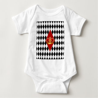 Red gold Crown & black and white Diamonds Baby Bodysuit