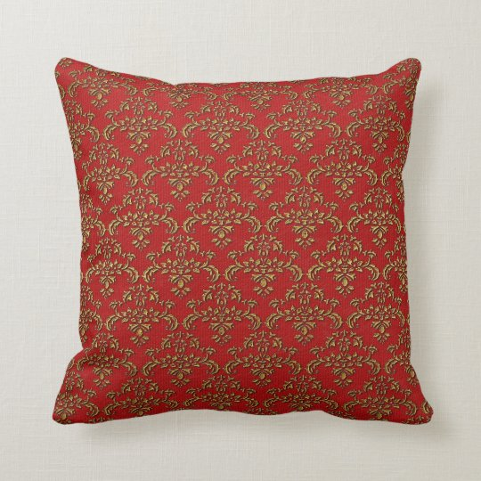 Red & Gold Damask Throw Pillow
