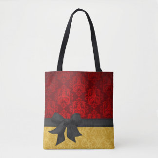 Red & Gold Damask Tote Bag