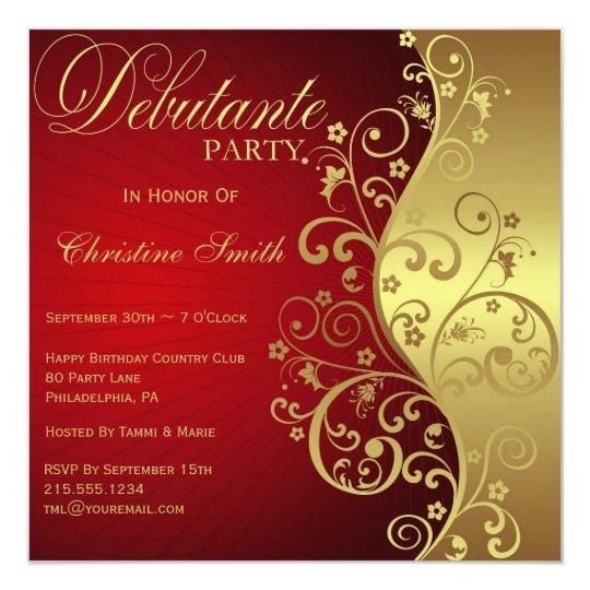 Red Gold Debutante Party Invitation Zazzle Ca
