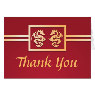 Red & Gold Dragon Thank You Cards