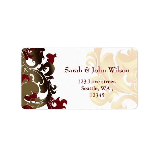 red gold elegance return address label