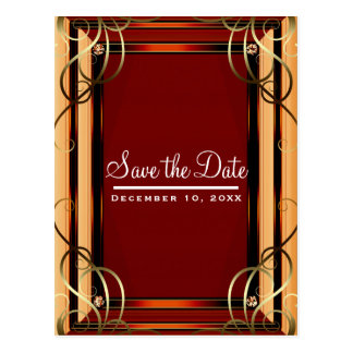 Red & Gold Elegant Company Corporate Save the Date Postcard