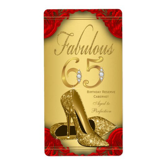 Red Gold Fabulous 65 Wine Bottle Labels