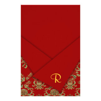 Red & Gold Fancy Folded Baroque Wedding Personalized Stationery