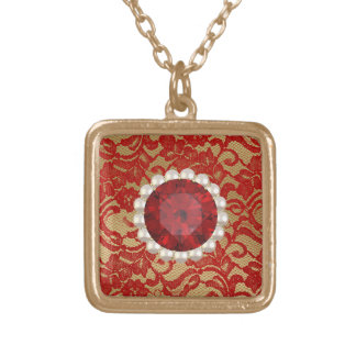 Red & Gold Faux Floral Lace & Ruby Pearls Gold Plated Necklace