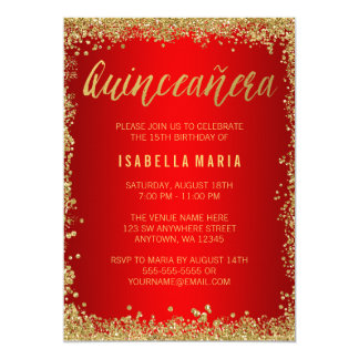 """Red Gold Faux Glitter Quinceanera 15th Birthday 5"""" X 7"""" Invitation Card"""