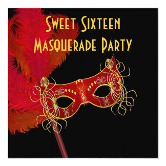 Red Gold Feather Mask Sweet 16 Masquerade Party Card
