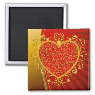 Red Gold Fleur de lis Heart Square Magnet