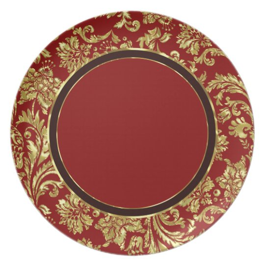 Red & Gold Floral Damasks 3 Customized Plate