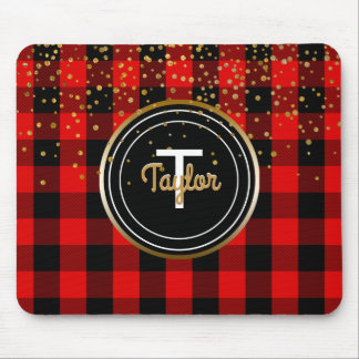 Red Gold Glam Confetti Dots Monogram Buffalo Plaid Mouse Pad