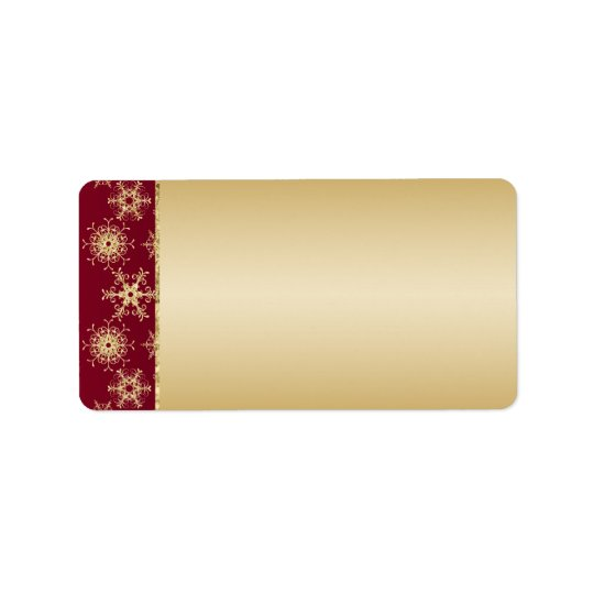 Red, Gold Glitter Snowflakes Address Label - Blank