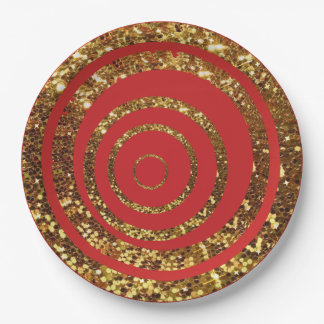 Red & Gold Glitter Swirl and Polka Dot Plates