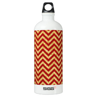 Red Gold Glitter Zigzag Stripes Chevron Pattern