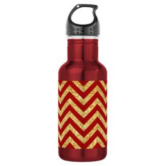 Red Gold Glitter Zigzag Stripes Chevron Pattern 532 Ml Water Bottle