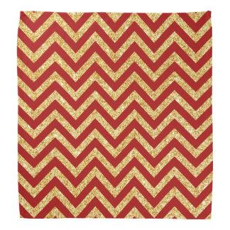 Red Gold Glitter Zigzag Stripes Chevron Pattern Bandana