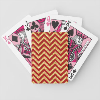 Red Gold Glitter Zigzag Stripes Chevron Pattern Bicycle Playing Cards