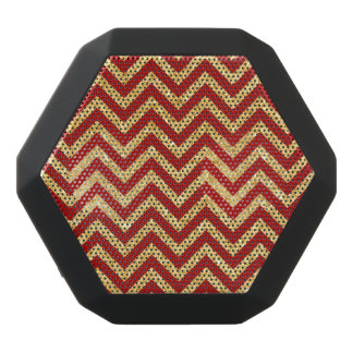 Red Gold Glitter Zigzag Stripes Chevron Pattern Black Bluetooth Speaker