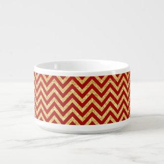 Red Gold Glitter Zigzag Stripes Chevron Pattern Bowl