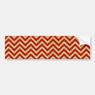 Red Gold Glitter Zigzag Stripes Chevron Pattern Bumper Sticker