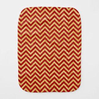 Red Gold Glitter Zigzag Stripes Chevron Pattern Burp Cloth