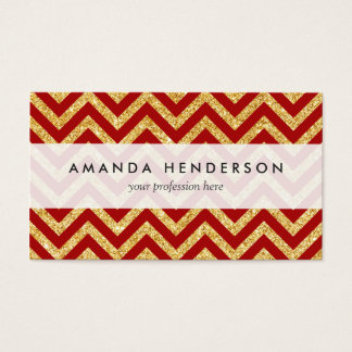 Red Gold Glitter Zigzag Stripes Chevron Pattern Business Card