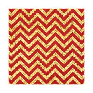 Red Gold Glitter Zigzag Stripes Chevron Pattern Canvas Print