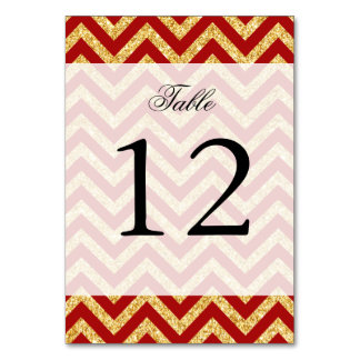 Red Gold Glitter Zigzag Stripes Chevron Pattern Card