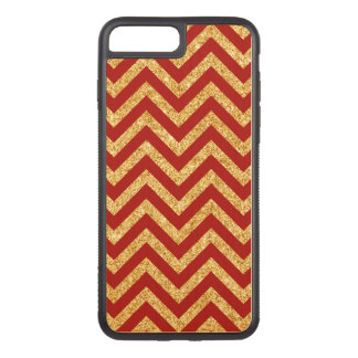 Red Gold Glitter Zigzag Stripes Chevron Pattern Carved iPhone 8 Plus/7 Plus Case