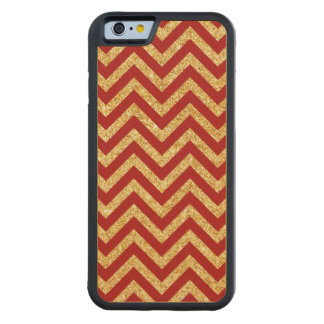 Red Gold Glitter Zigzag Stripes Chevron Pattern Carved Maple iPhone 6 Bumper Case