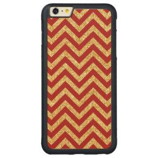 Red Gold Glitter Zigzag Stripes Chevron Pattern Carved Maple iPhone 6 Plus Bumper Case