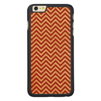 Red Gold Glitter Zigzag Stripes Chevron Pattern Carved Maple iPhone 6 Plus Case