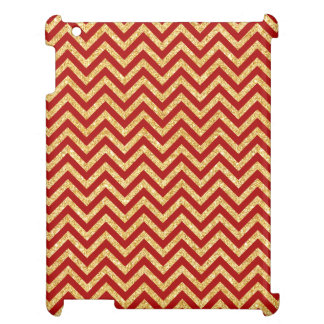 Red Gold Glitter Zigzag Stripes Chevron Pattern Case For The iPad 2 3 4