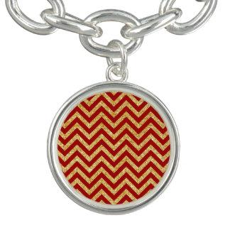 Red Gold Glitter Zigzag Stripes Chevron Pattern Charm Bracelets