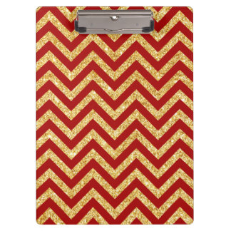 Red Gold Glitter Zigzag Stripes Chevron Pattern Clipboard