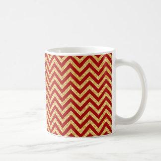 Red Gold Glitter Zigzag Stripes Chevron Pattern Coffee Mug